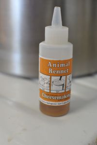 The next step is adding the rennet, we use animal rennet.