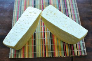 We like to cut our cheese in half, since it is close to 2 lbs, so we usually package them separately.