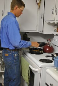 Sean cooking breakfast